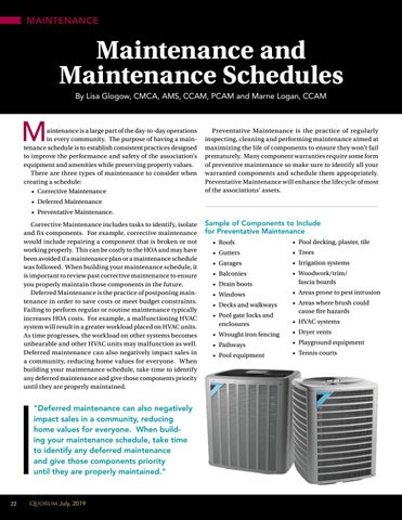 Page 22 of Maintenance and  Maintenance Schedules