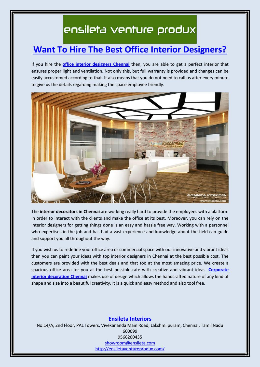 Want To Hire The Best Office Interior Designers By Ensileta Interiors Issuu