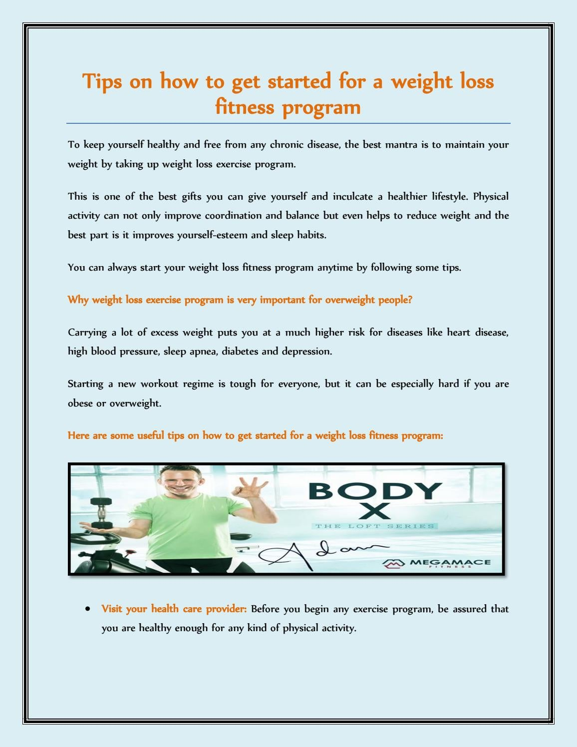 Tips On How To Get Started For A Weight Loss Fitness Program By Mega Mace Fitness Issuu