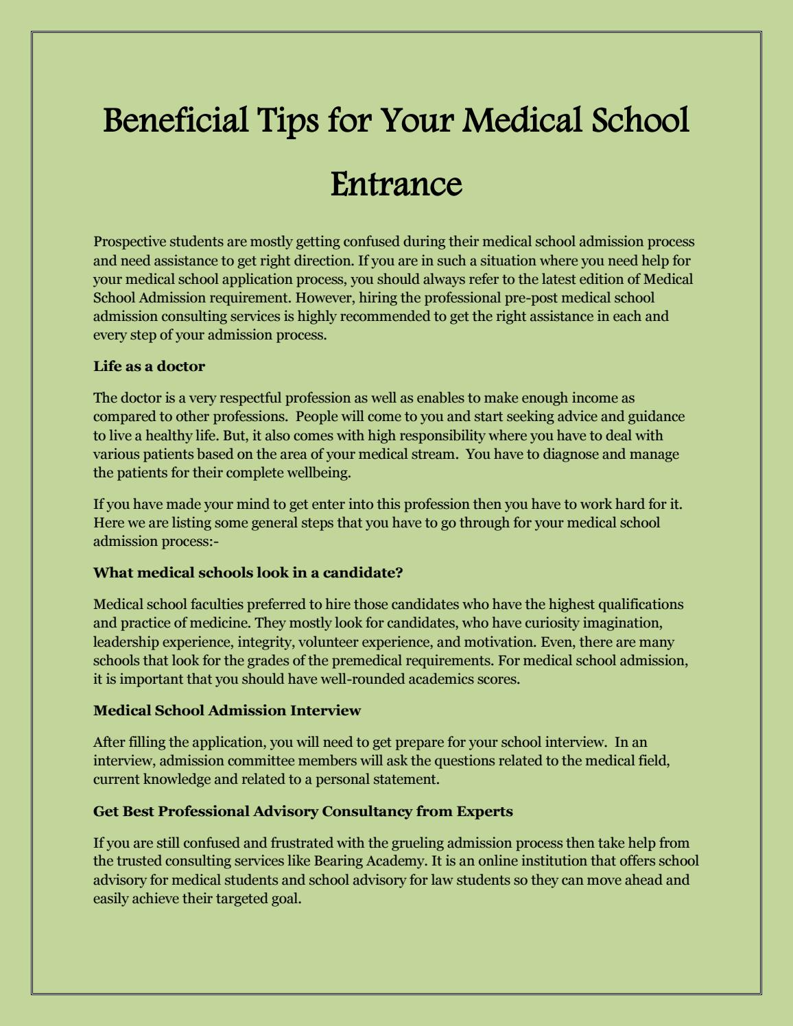 Beneficial Tips for Your Medical School Entrance by bearing