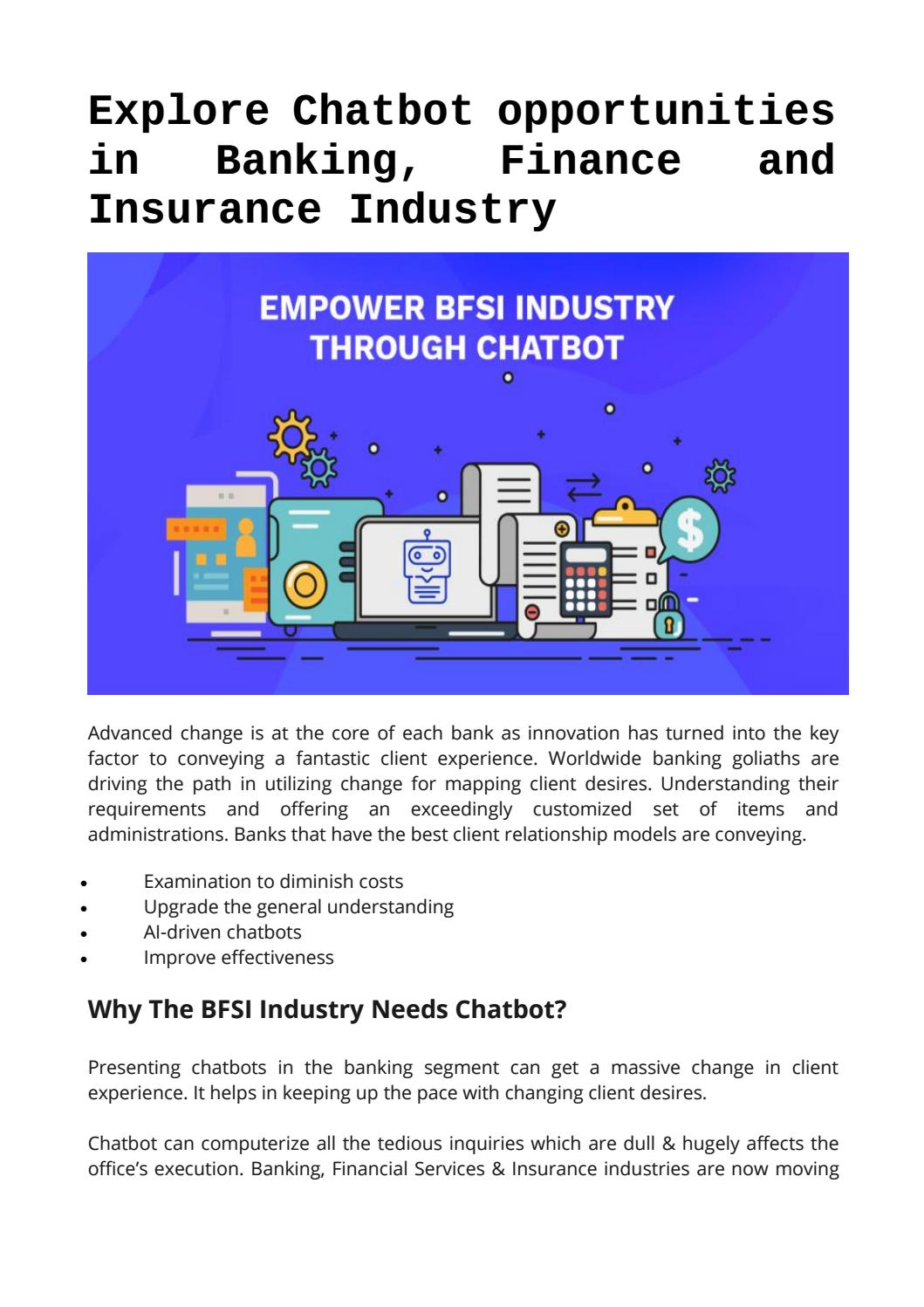 How Chatbot Can Help you In Banking, Finance and Insurance