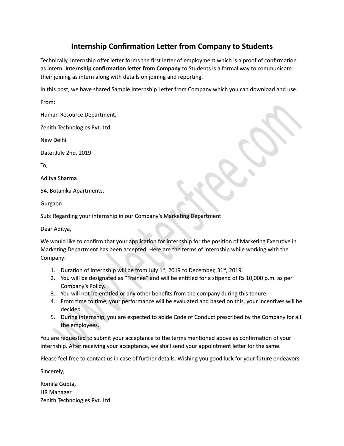 Internship Confirmation Letter From Company To Students By Sample Letters Issuu