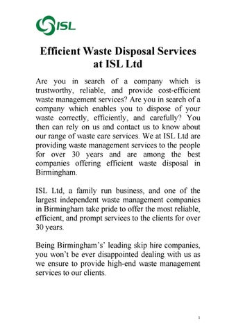 Efficient Waste Disposal Services at ISL Ltd