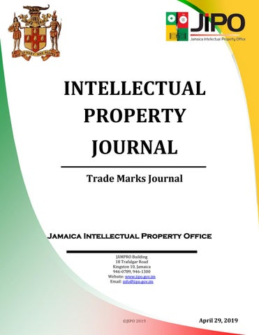 April 2019 TM Journal by Jamaica Intellectual Property