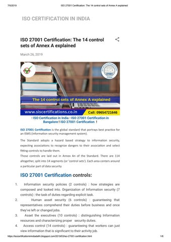 what is iso 27001 annex a
