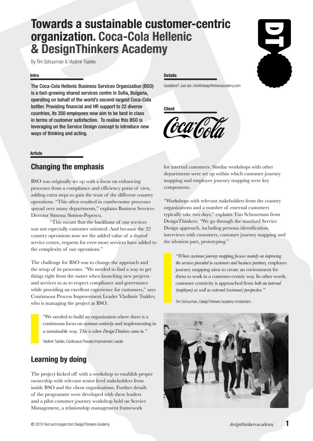 Coca-Cola Hellenic & DesignThinkers Academy | Towards a sustainable customer-centric organization