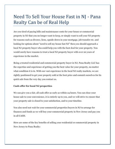 Need To Sell Your House Fast in NJ - Pana Realty Can be of Real Help