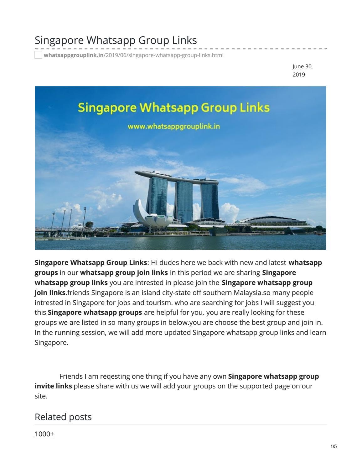 Singapore Whatsapp Group Links by whatsappgrouplink77 - issuu
