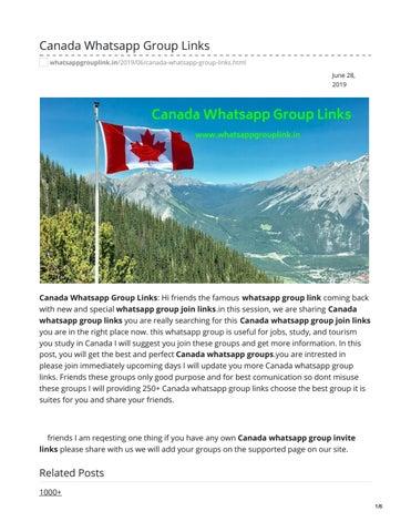 Canada Whatsapp Group Links by whatsappgrouplink77 - issuu