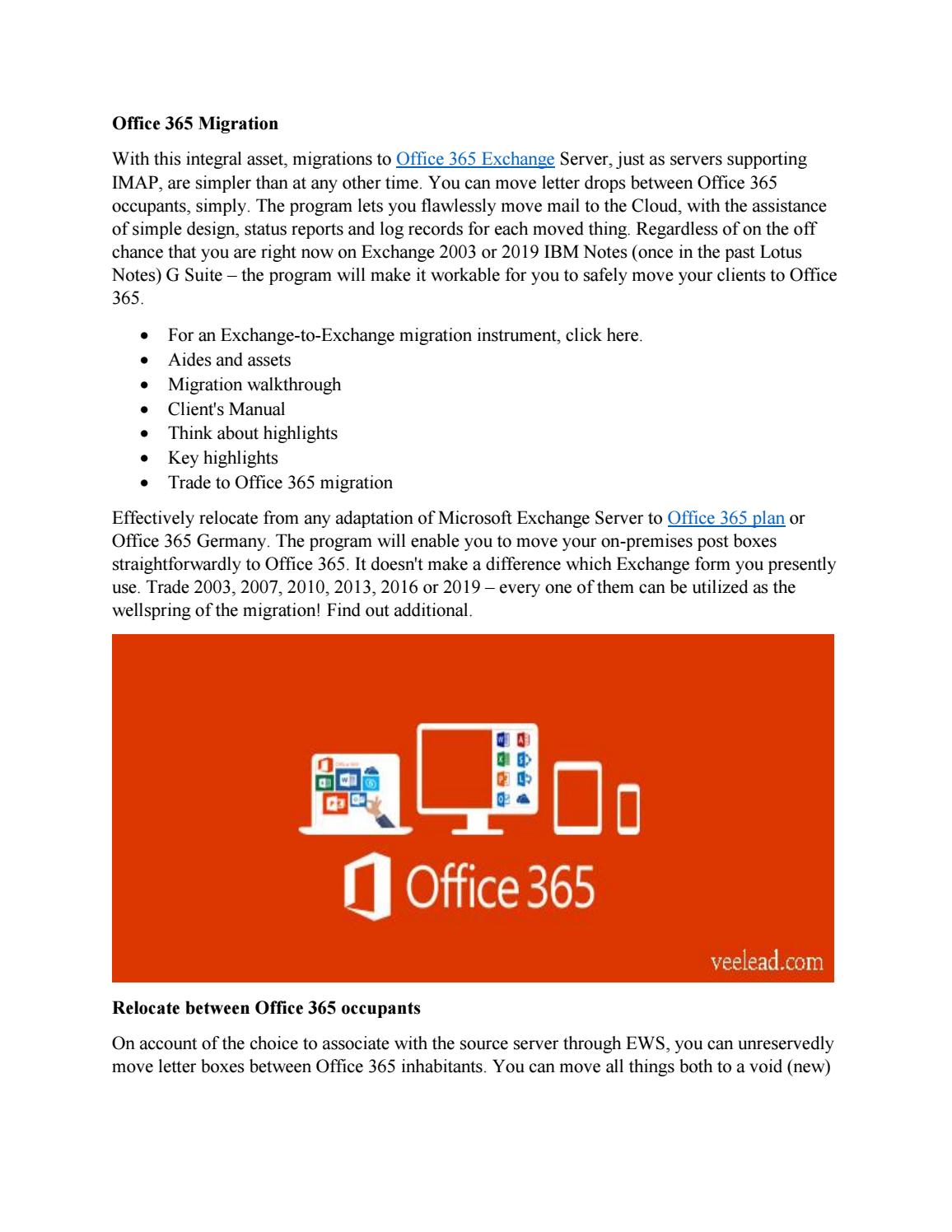 Office 365 Migration Tool by Veelead Solutions - issuu