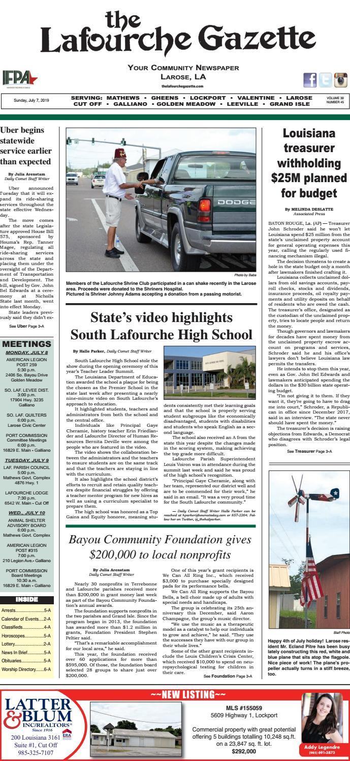 Sunday, July 7, 2019 THE LAFOURCHE GAZETTE by The Lafourche