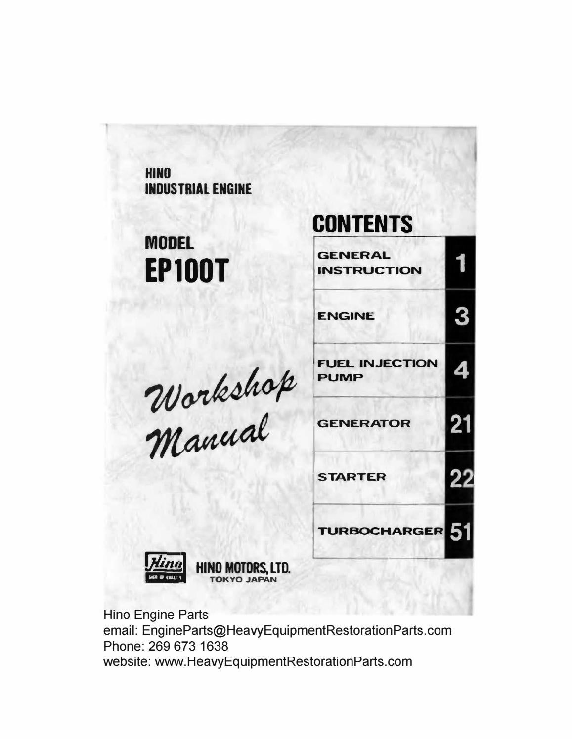 Hino Ep100 Ep100t Engine Workshop Manual By Engineparts2 Issuu