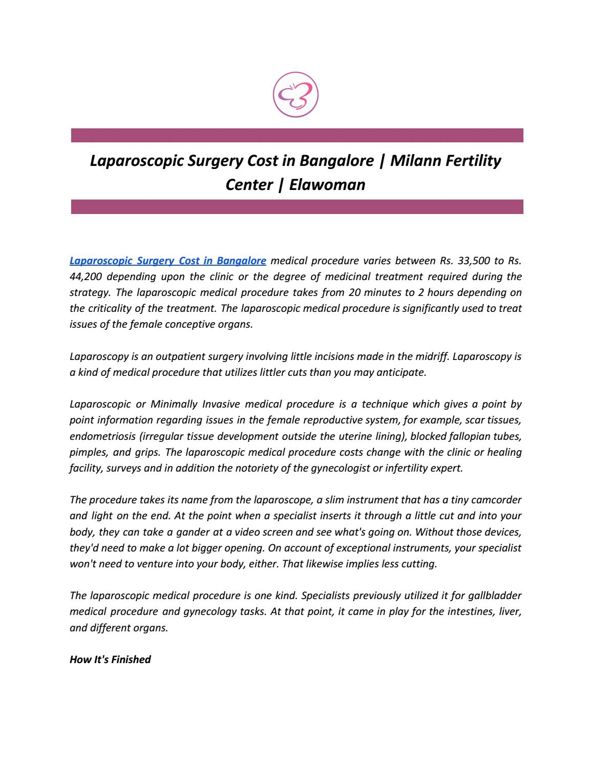 Laparoscopic Surgery Cost in Bangalore | Milann Fertility Center