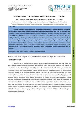 DESIGN AND OPTIMIZATION OF VORTEX BLADELESS TURBINE by Transtellar