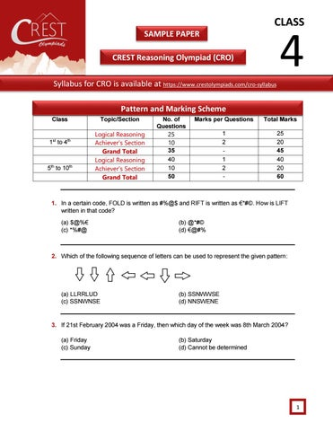 CRO Olympiad Exam Sample Paper for Class 4  by CREST