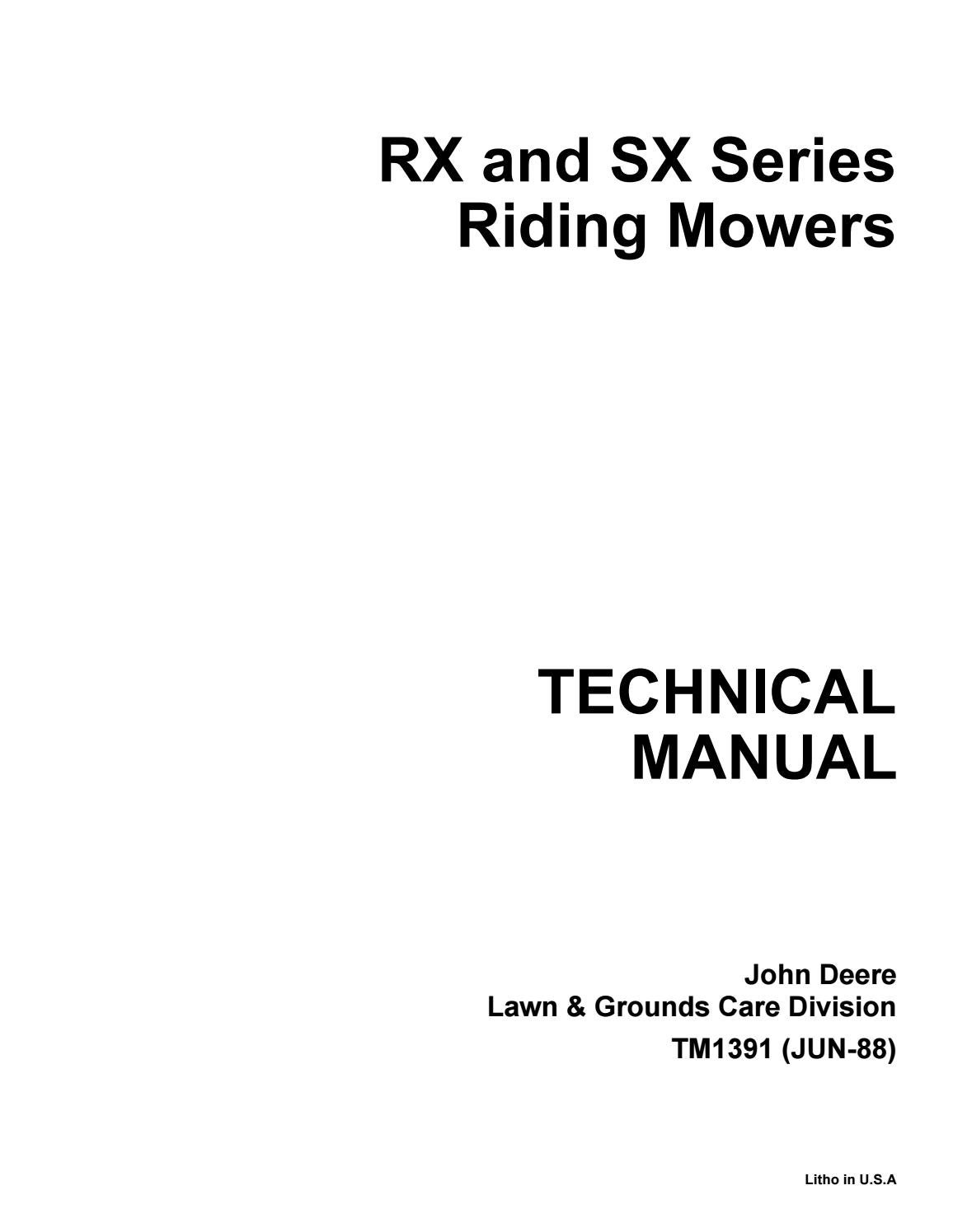 JOHN DEERE SX95 RIDING MOWER Service Repair Manual by 1639610 - issuuIssuu