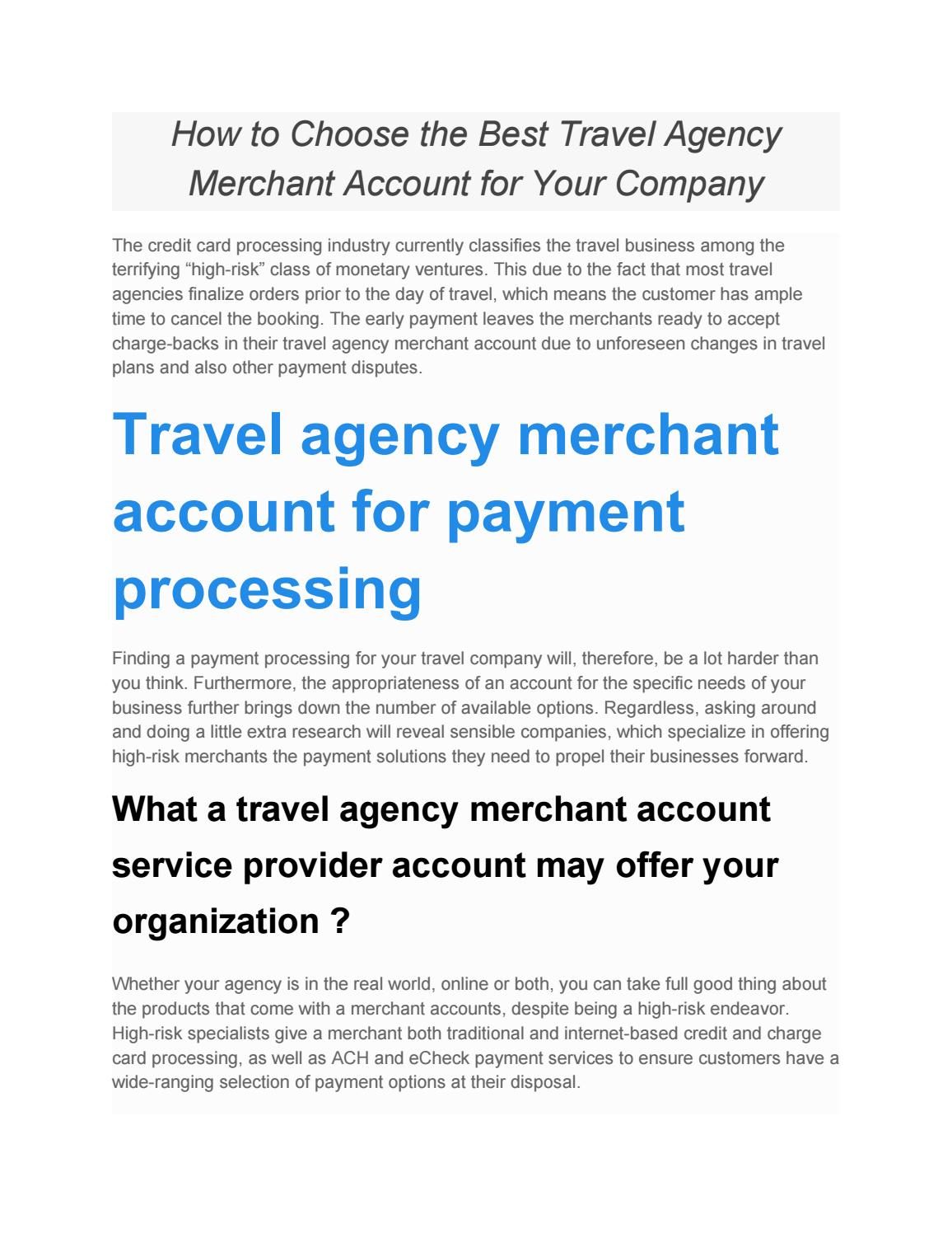 How to Choose the Best Travel Agency Merchant Account for