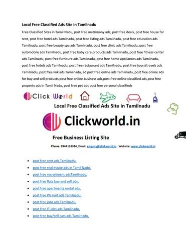 Local Free Classified Ads Site in Tamilnadu by Click World