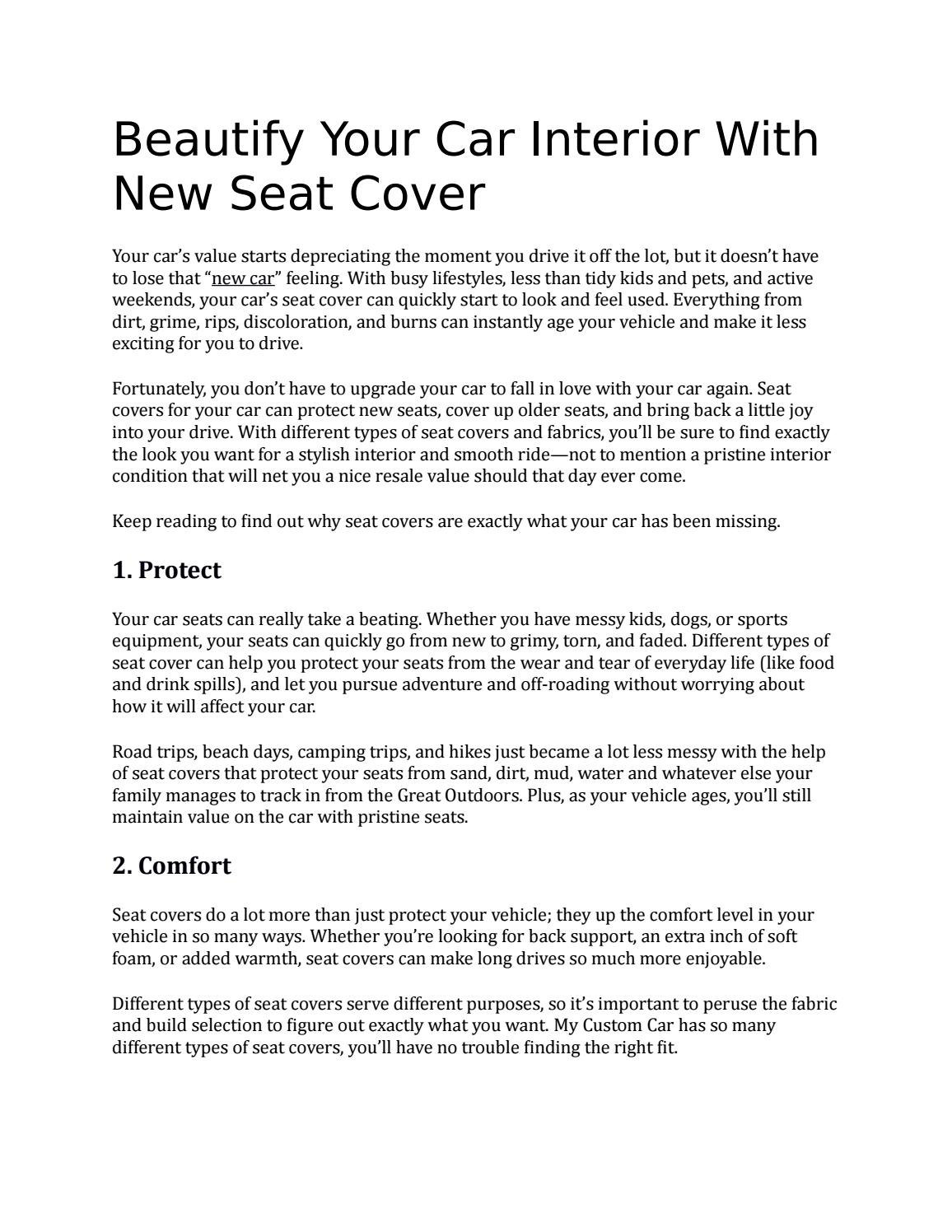 Beautify Your Car Interior With New Seat Cover by