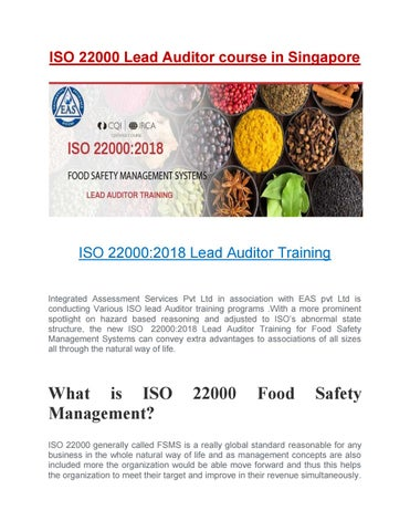 IRCA ISO 22000 Lead Auditor Course in Singapore by iassingapore - issuu
