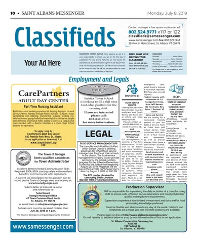 7/08/19 Classifieds by St  Albans Messenger - issuu