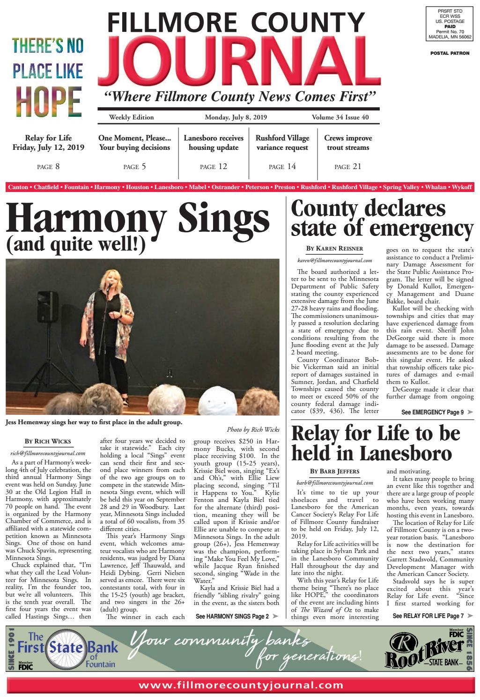 Fillmore County Journal - 7 8 19 by Jason Sethre - issuu