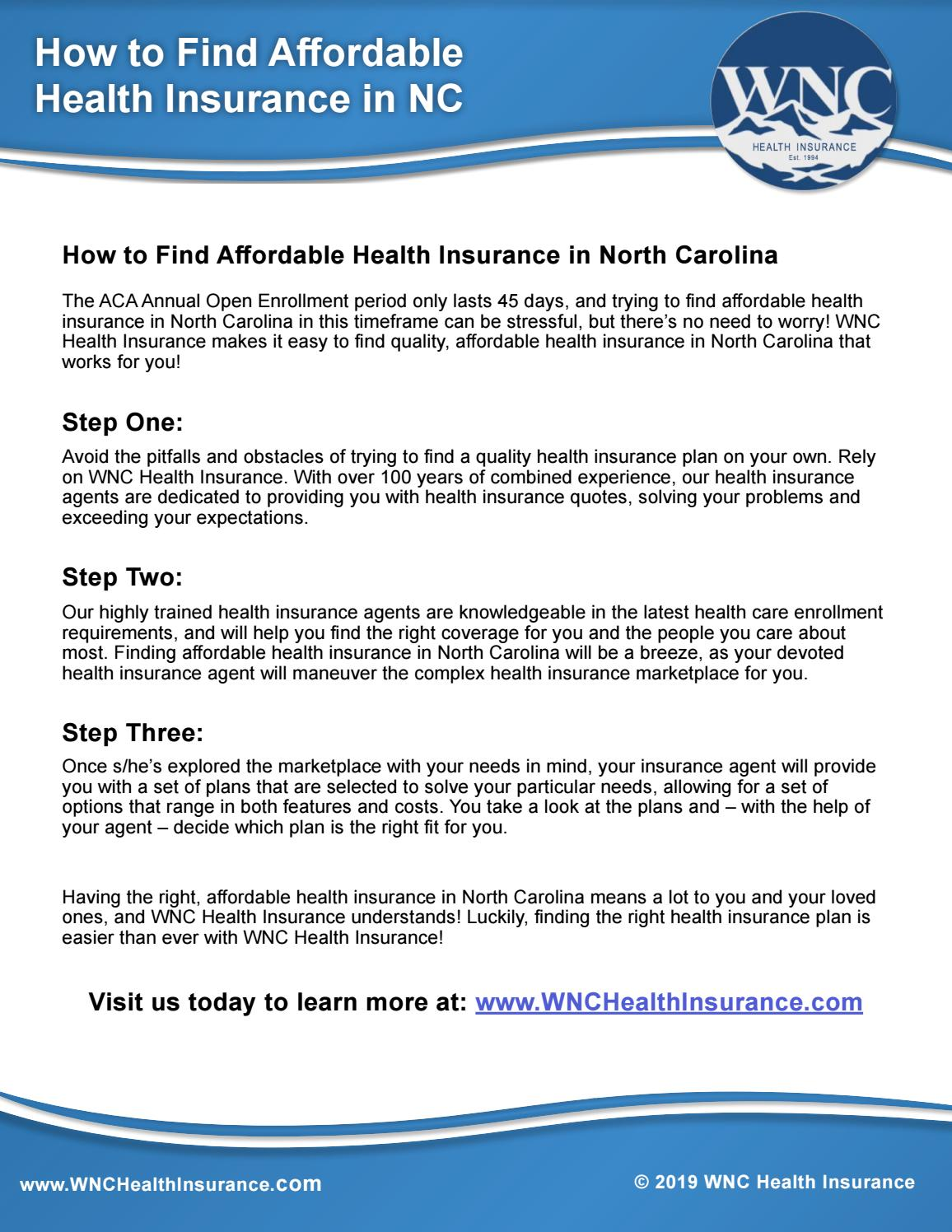 Nc Health Insurance >> How To Find Affordable Health Insurance In North Carolina By