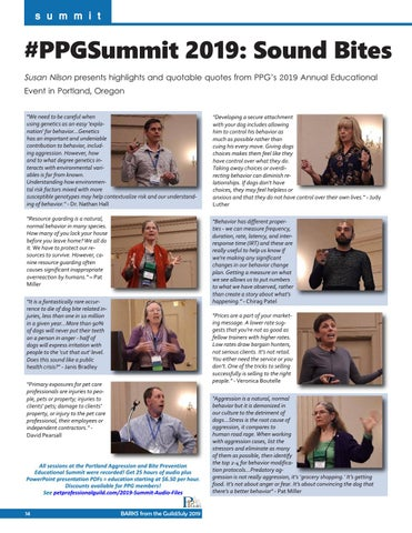 Page 14 of Sound Bites from PPG's Canine Aggression and Bite Prevention Seminar, Portland Oregon, April 2019