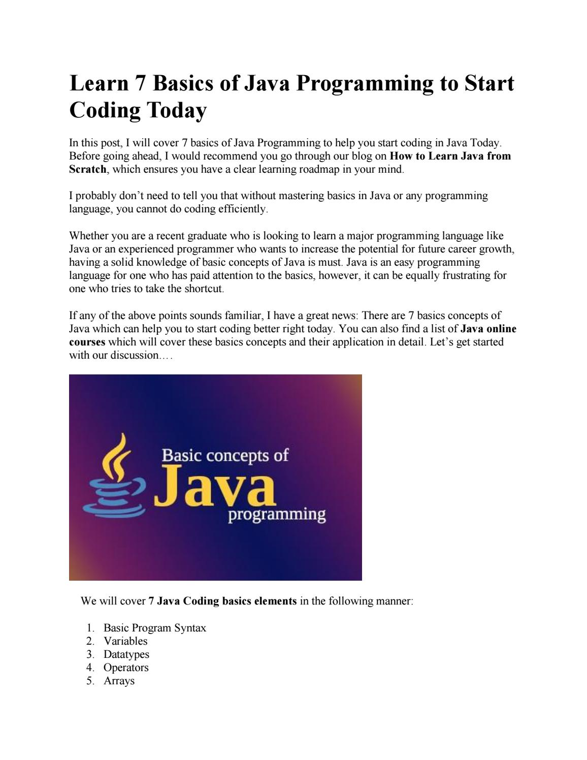 Learn 7 Basics of Java Programming to Start Coding Today by