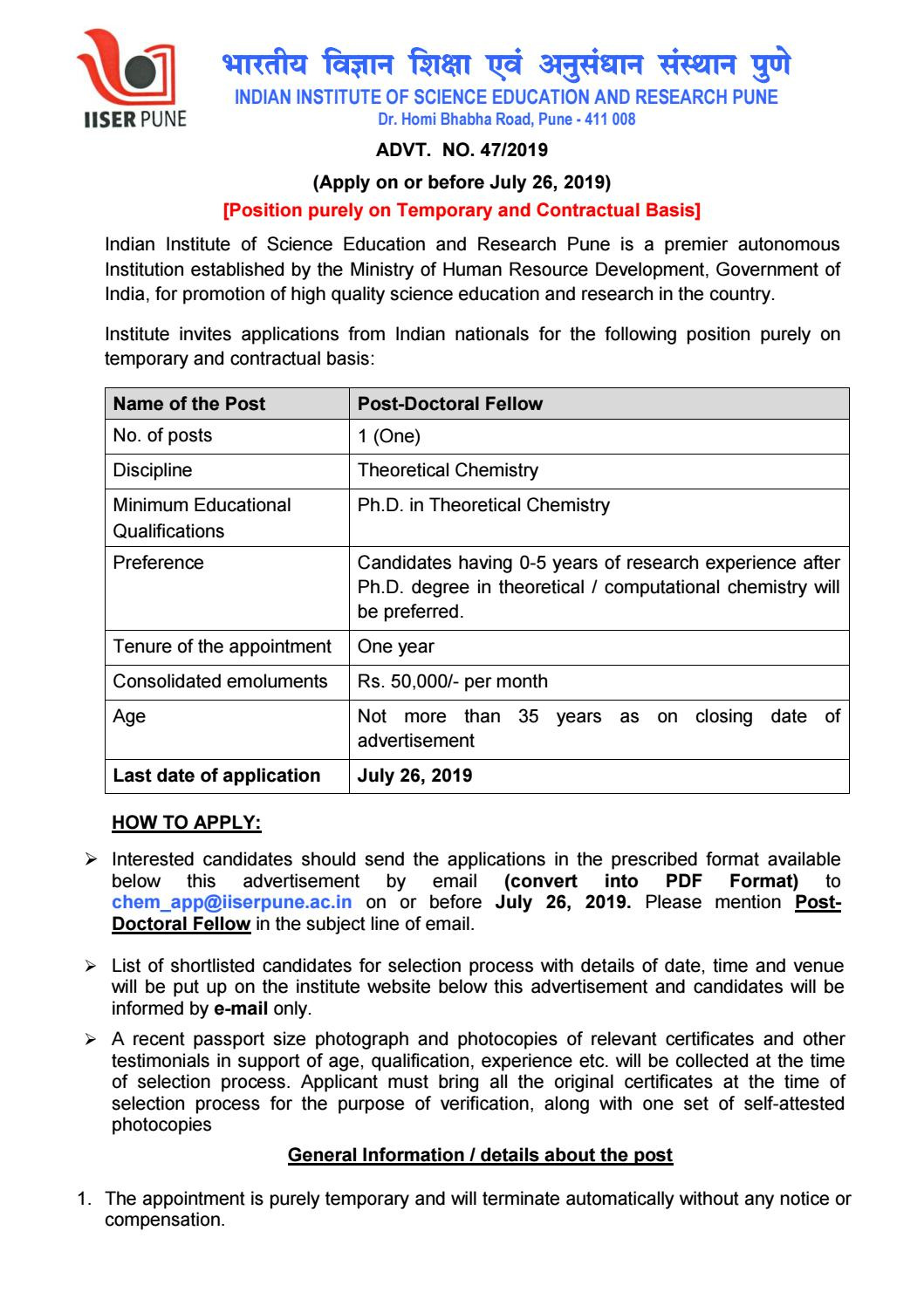 IISER Pune Hiring Post Doc Chemistry Candidates