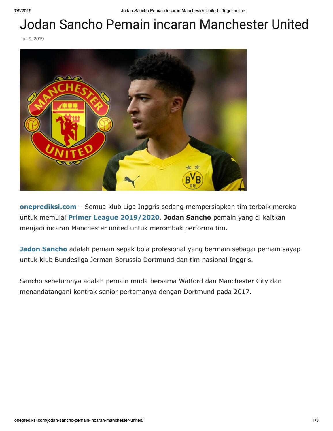 Jodan Sancho Pemain Incaran Manchester United By
