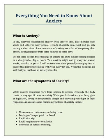 Everything You Need to Know About Anxiety by Austin Anxiety