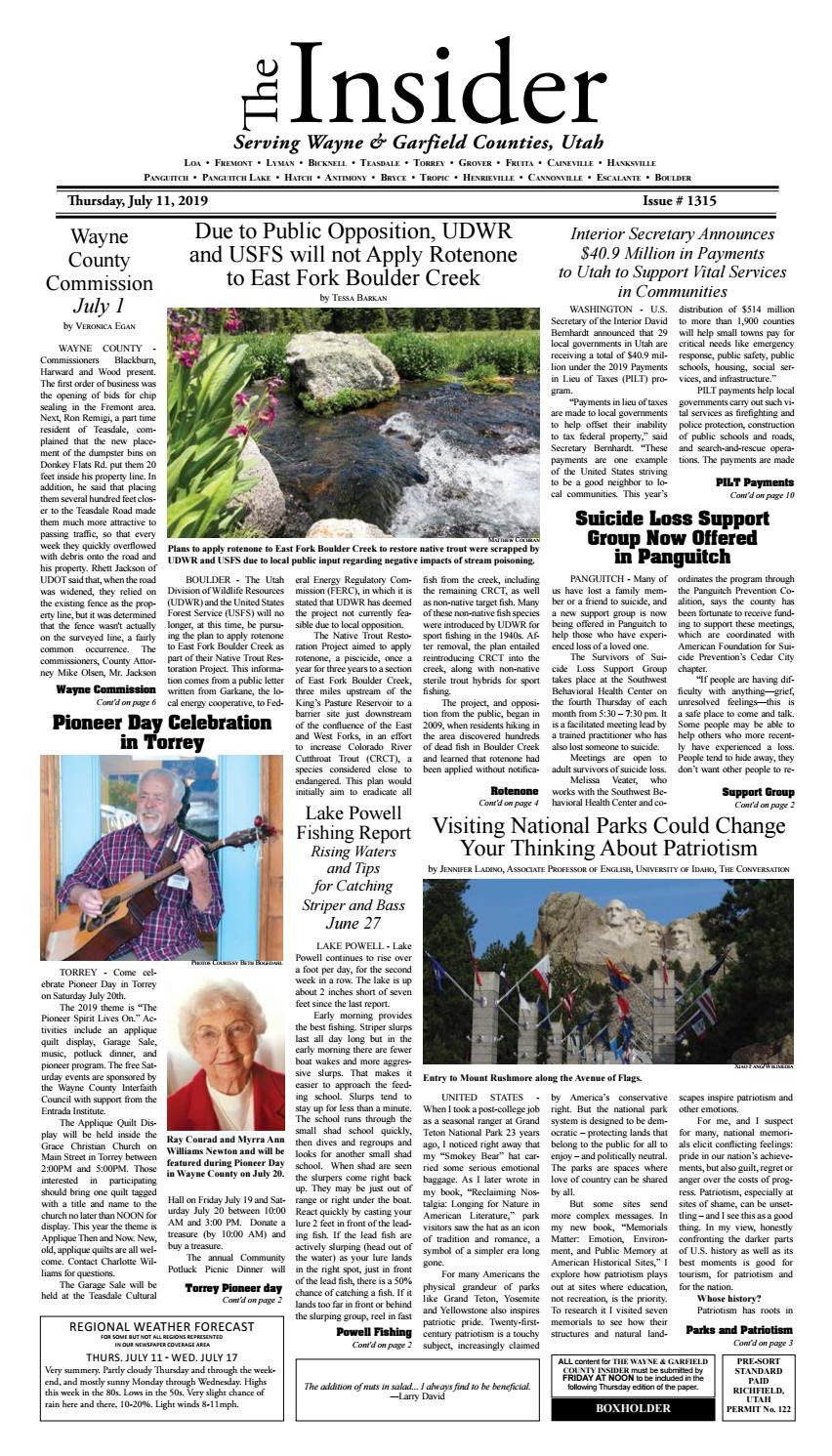 The Wayne & Garfield County Insider July 11, 2019 by
