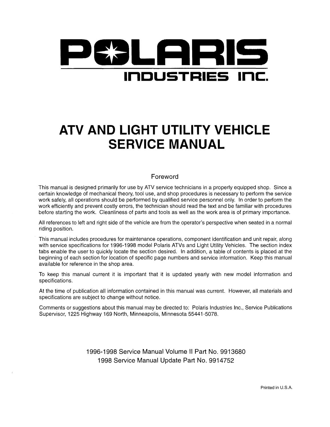 1996 Polaris Sportsman 500 Service Repair Manual By 1631010310 Issuu