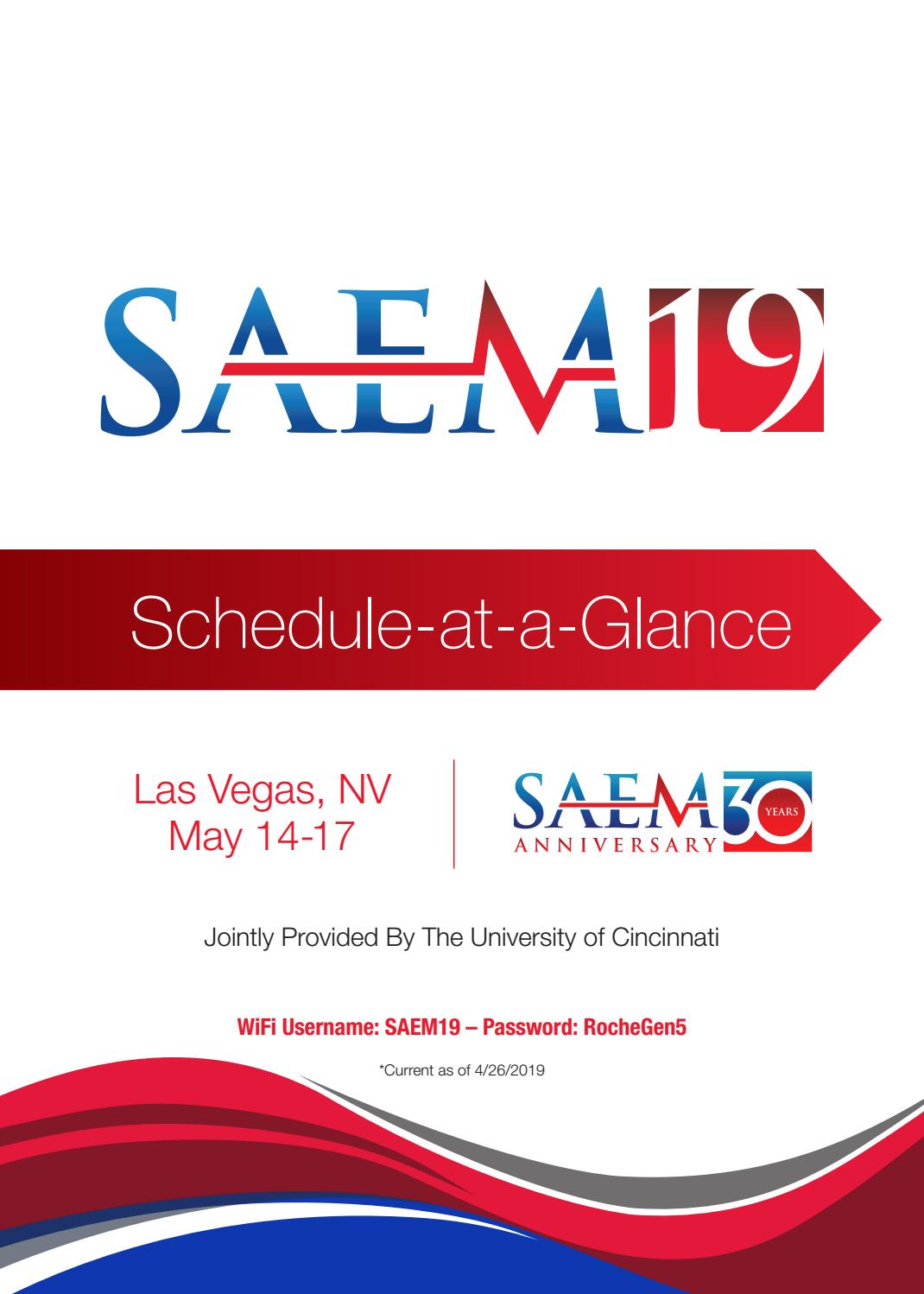SAEM19 Schedule at a Glance by Society for Academic