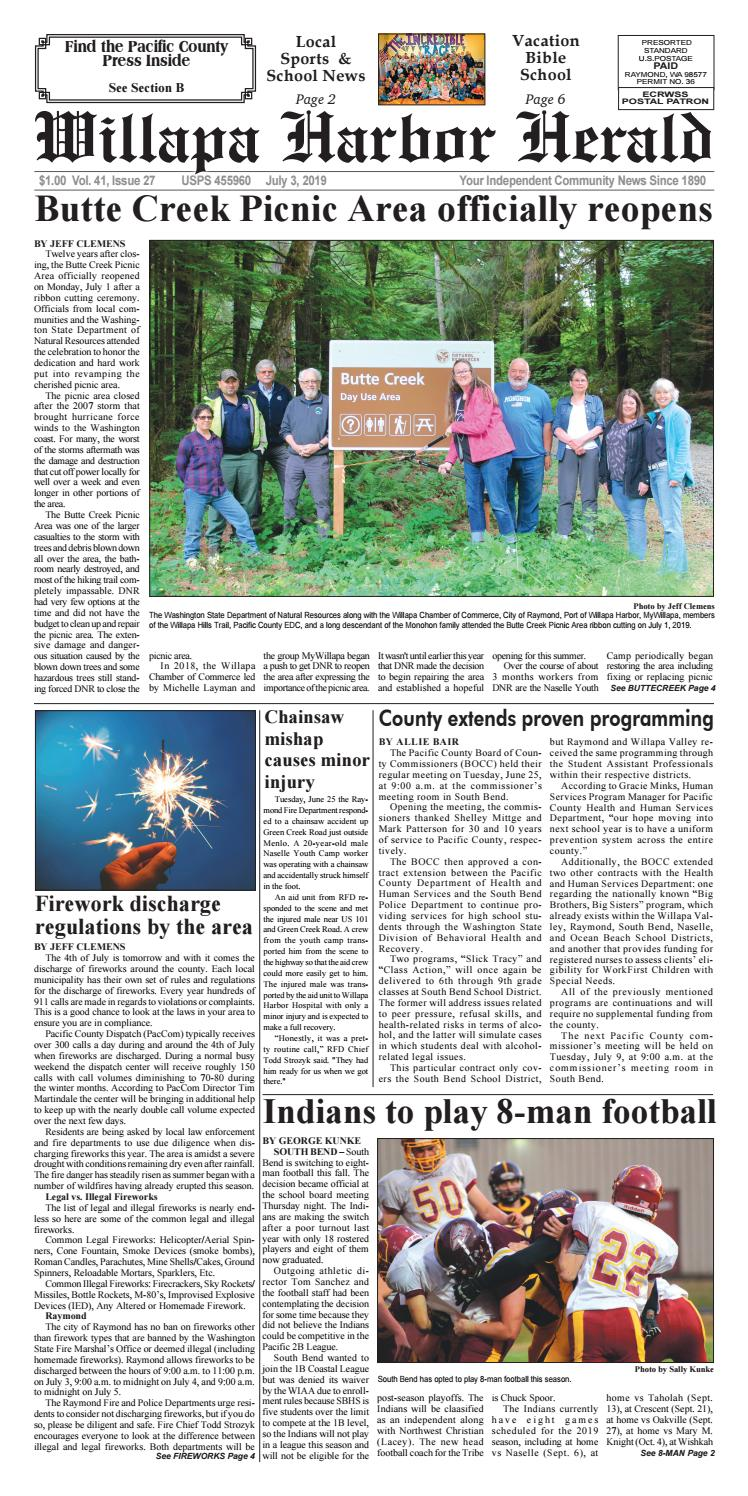 July 3, 2019 Willapa Harbor Herald/Pacific County Press by
