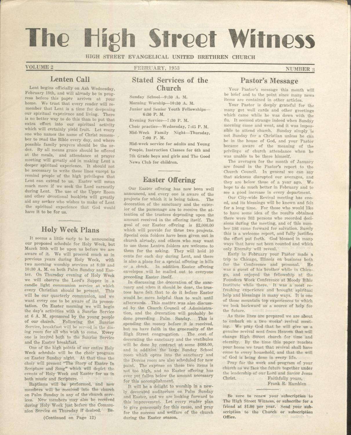 1953 February The High Street Witness by Otterbein