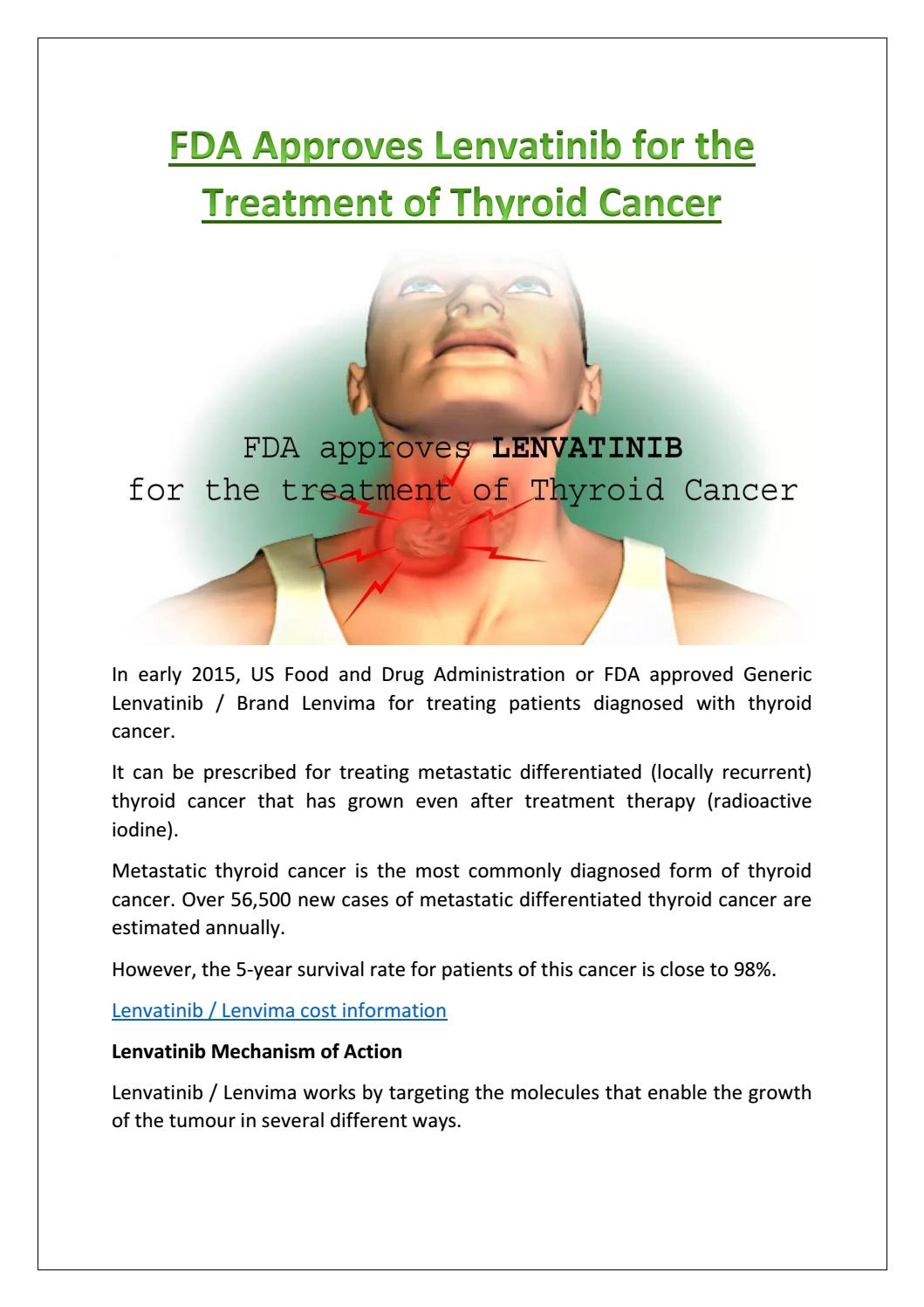 Fda Approves Lenvatinib For The Treatment Of Thyroid Cancer By Asukaccp Issuu