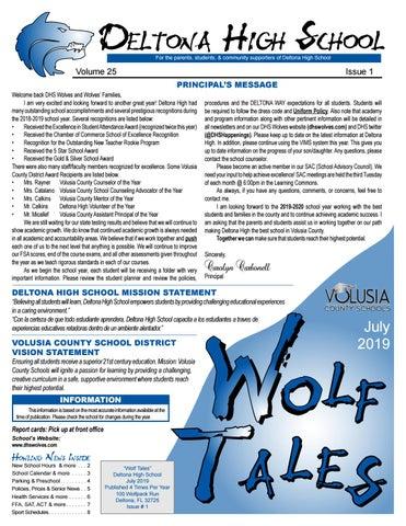 Deltona High School Newsletter By Academy Publishing Inc