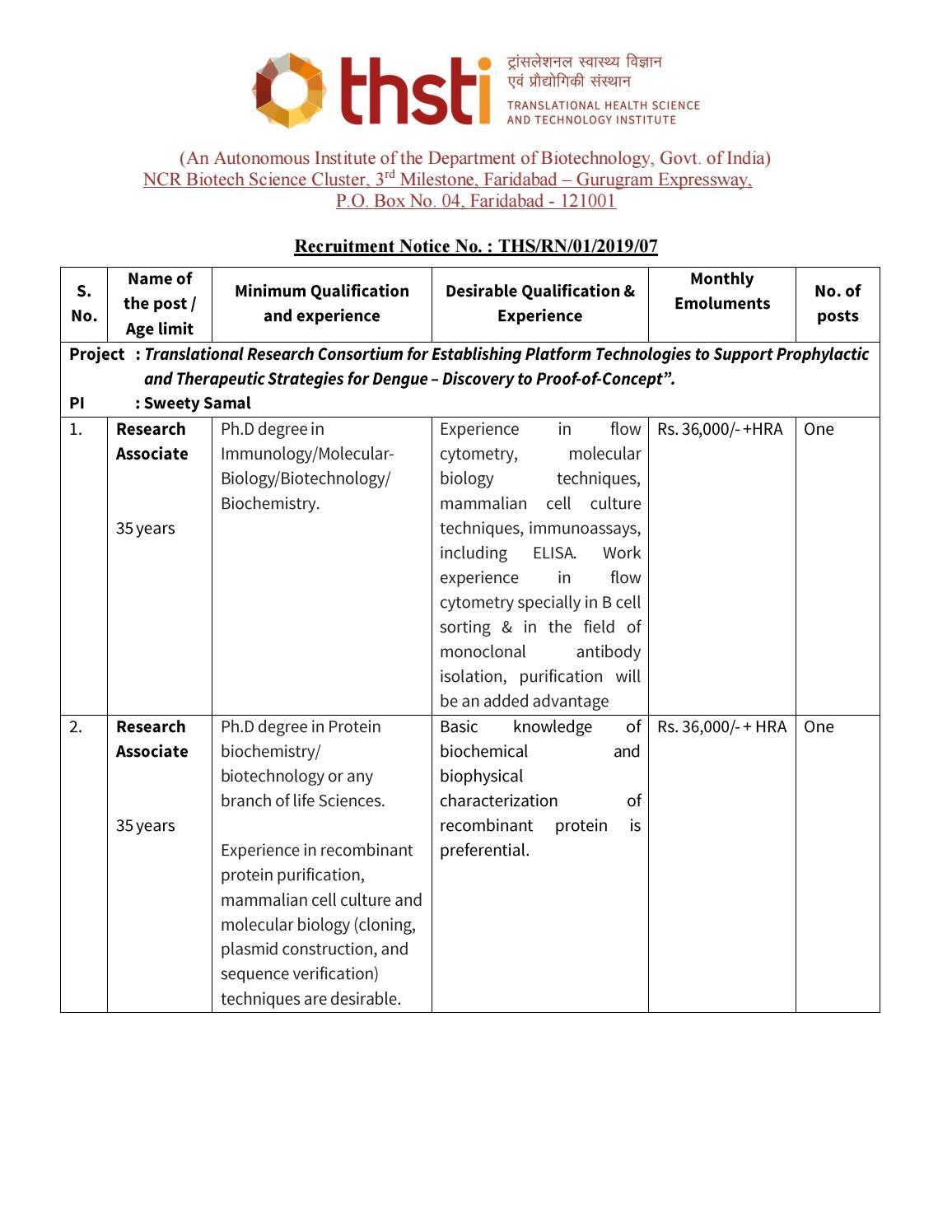 Govt THSTI PhD Research Associate Jobs - Life Sciences Apply