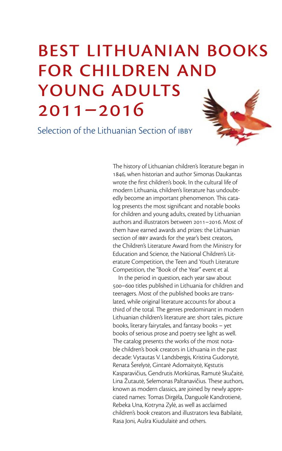 BEST LITHUANIAN BOOKS FOR CHILDREN AND YOUNG ADULTS 2011