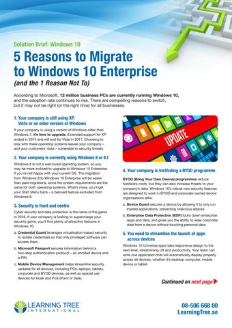 5 Reasons to Migrate to Windows 10 Enterprise SE Edition by