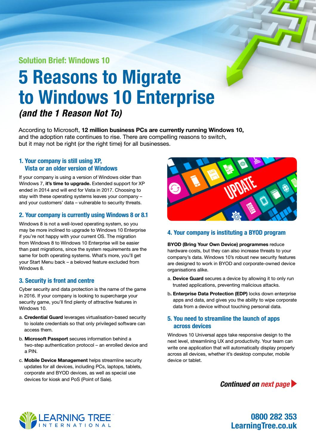 5 Reasons to Migrate to Windows 10 Enterprise - UK edition