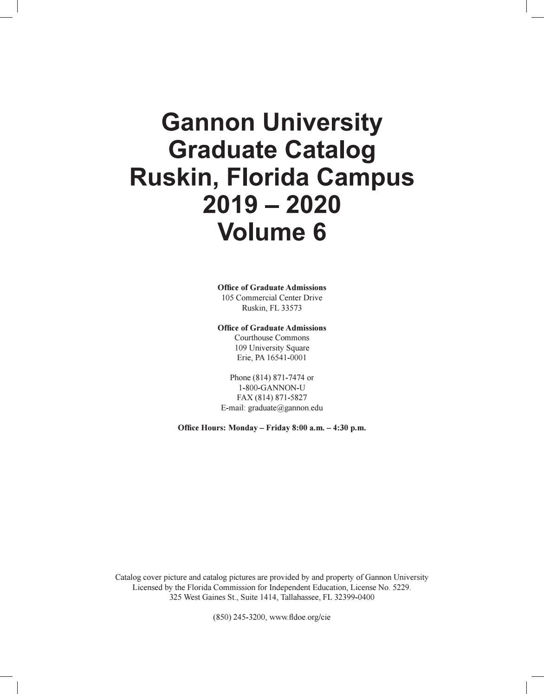 Gannon University Ruskin Catalog 2019-2020 by Gannon