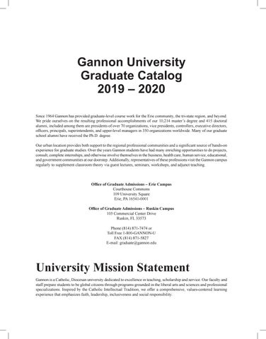 Gannon University Graduate Catalog 2019 2020 By Gannon University Issuu