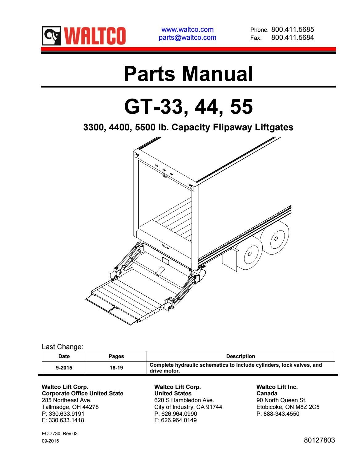 Waltco GT Series Liftgate Parts Manual by THE Liftgate Parts