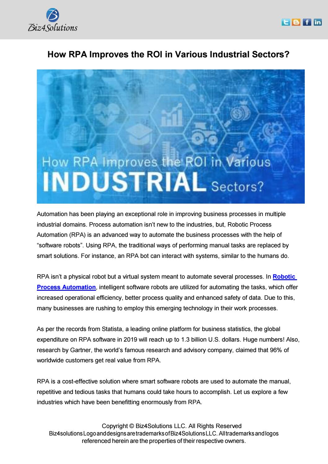 How RPA Improves the ROI in Various Industrial Sector by