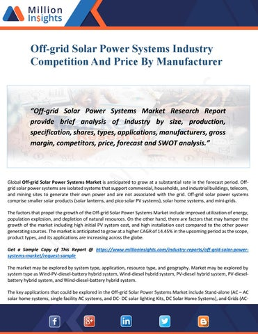 Off-grid Solar Power Systems Market Report 2028 Analysis By