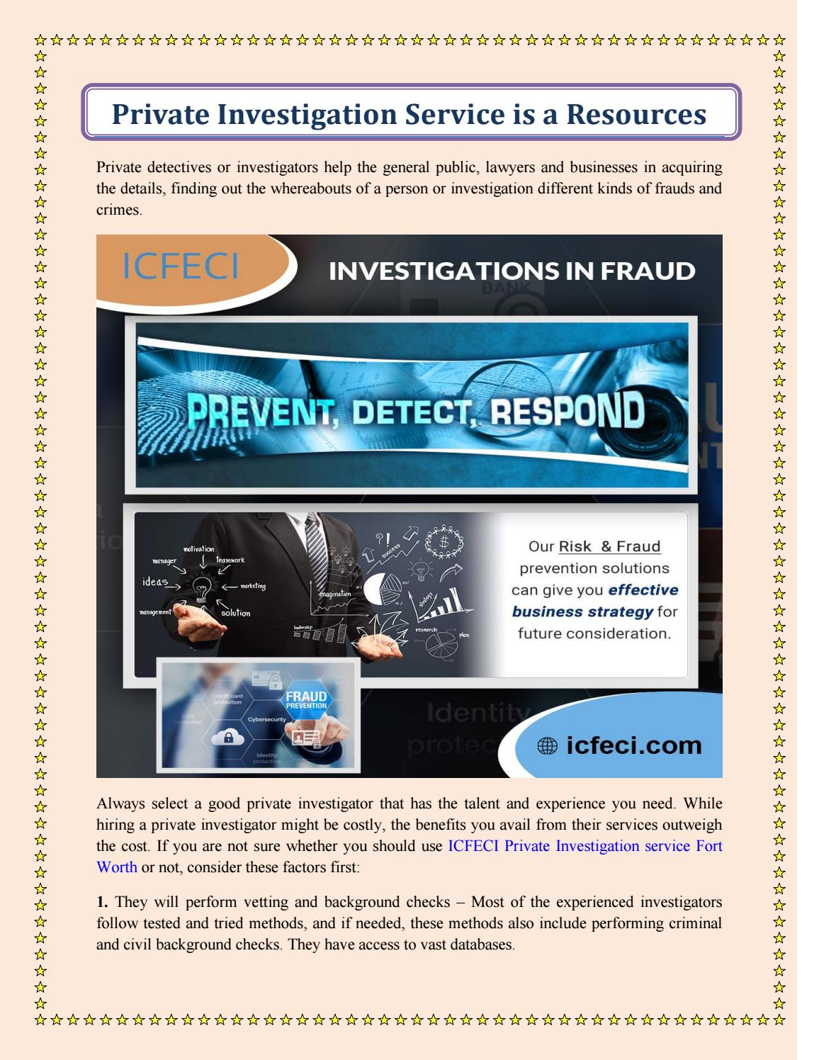 Private Investigation Service is a Resources by ICFECI - issuu