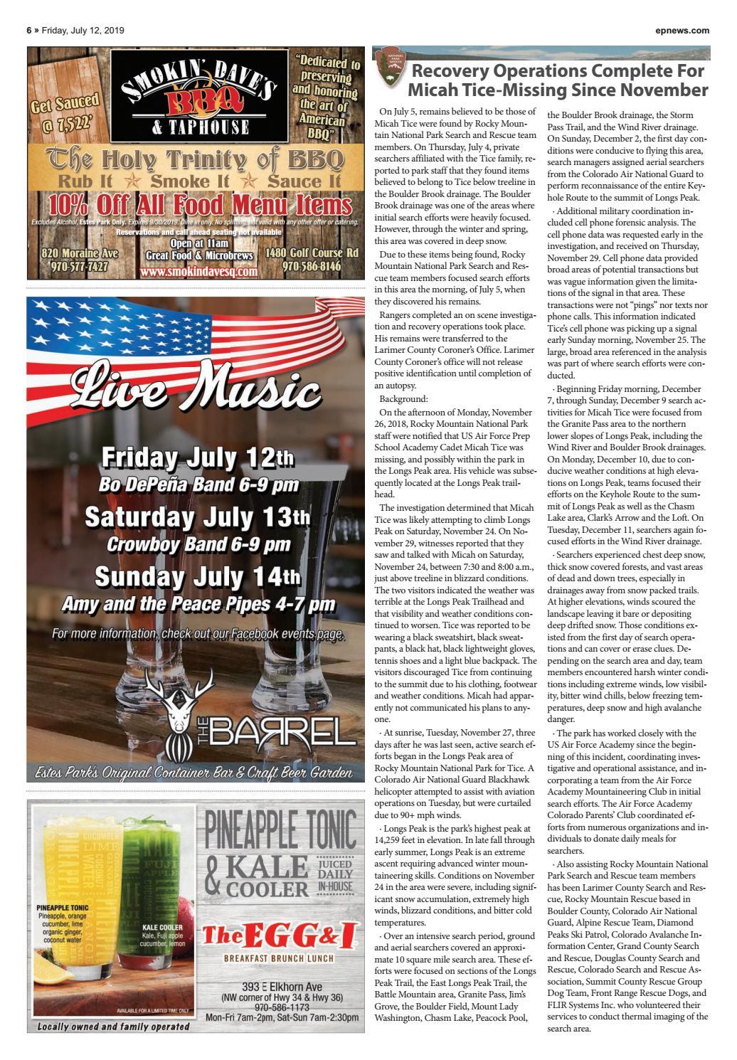 Estes Park News, July 12, 2019 by Estes Park News, Inc - issuu